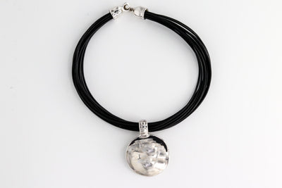 Simon Sebbag Designs - Sterling Silver Medallion & Black Leather Rope Necklace