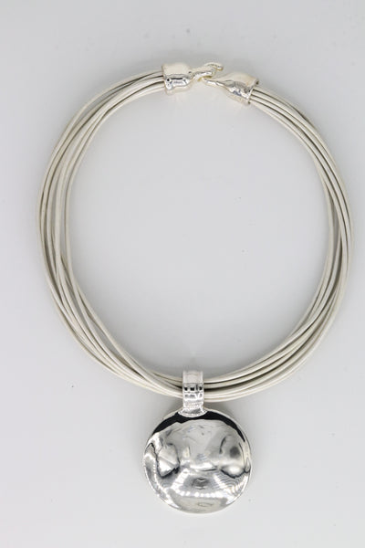 Simon Sebbag Designs - Sterling Silver Medallion & Pearl Leather Necklace
