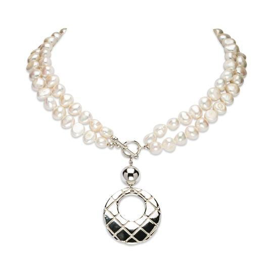 Simon Sebbag Textured Sterling Silver Pendant Convertible Pearl Necklace