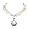 Image of Simon Sebbag Textured Sterling Silver Pendant Convertible Pearl Necklace
