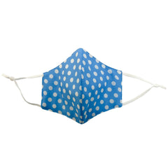 4-Layer Cotton Fashion Mask Polka Dot Print - Blue/White