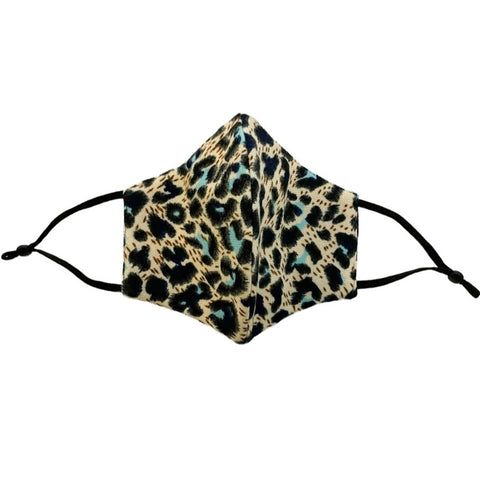4-Layer Cotton Fashion Mask Leopard Print - Turquoise/Multicolor