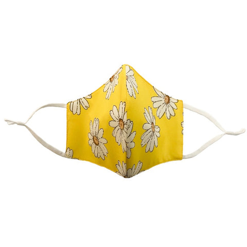 4-Layer Cotton Fashion Mask Daisy Print - Yellow
