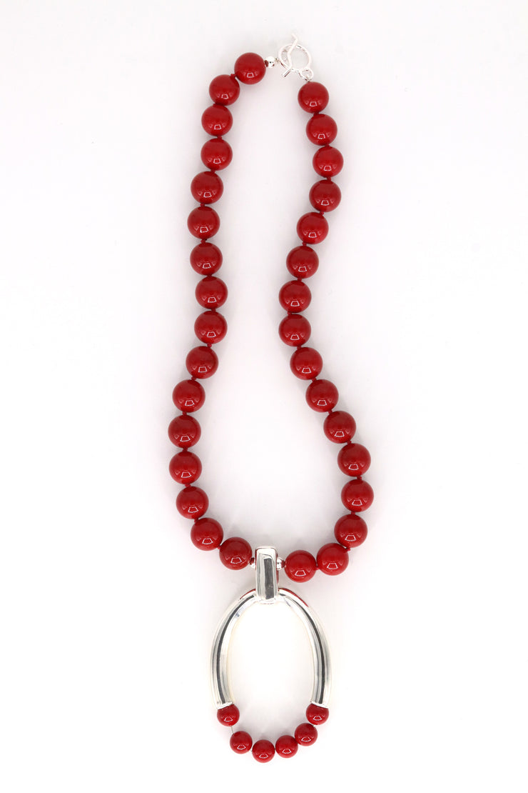 Simon Sebbag Designs - Red Beaded Necklace with Sterling Silver Horseshoe Charm