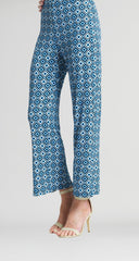 Clara Sunwoo Printed Ankle Slit Pant - Blue/Multicolor