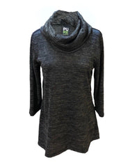 Pure Essence Cowl Neck 3/4 Sleeve Knit Top - Heather Charcoal