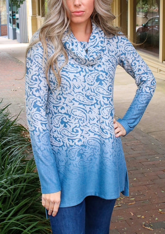 Pure Essence Paisley Ombre Cowl Neck Tunic - Blue Sky