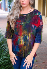 Pure Essence Patchwork Burnout Dolman Sleeve Top - Multicolor