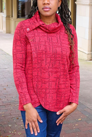 Pure Essence Button Collar Textured Knit Wrap Tunic - Barn Red