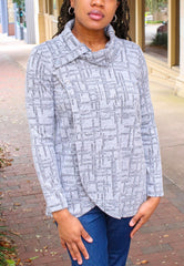 Pure Essence Button Collar Textured Knit Wrap Tunic - Silver