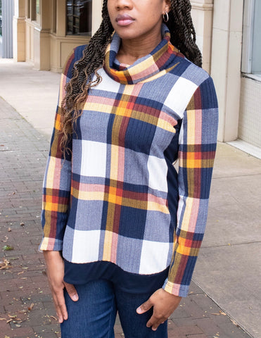 Pure Essence Cowl Neck Plaid Tunic - Multicolor