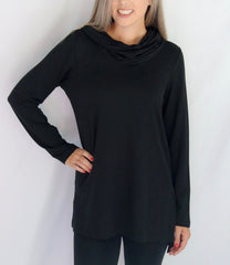 Pure Essence Cowl Neck Bamboo Terrycloth Tunic - Black