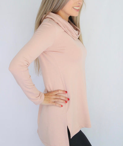 Pure Essence Cowl Neck Bamboo Terrycloth Tunic - Blush