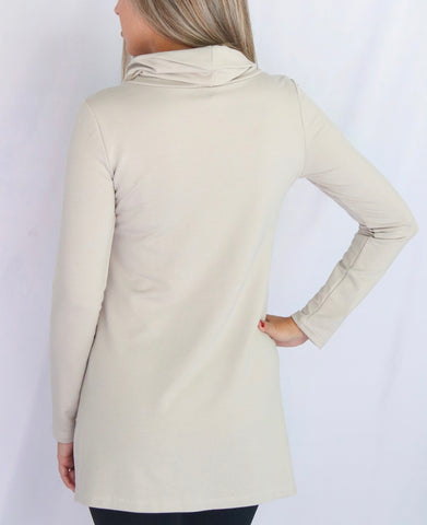 Pure Essence Cowl Neck Bamboo Terrycloth Tunic - Putty