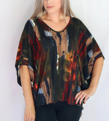 Pure Essence Brushstroke Print Poncho Top - Multicolor