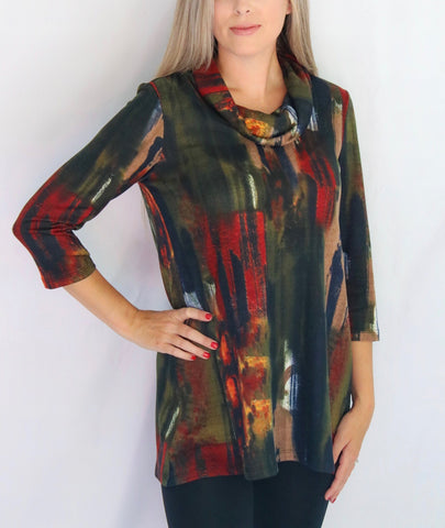 Pure Essence Brushstroke Print Cowl Neck Tunic - Multicolor