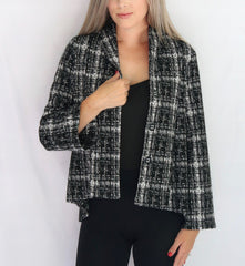 Pure Essence Shawl Collar Digital Plaid Jacquard Blazer - Black/White