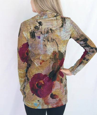 Pure Essence Envelope Collar Abstract Print Long Sleeve Tunic - Multicolor