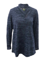 Pure Essence Envelope Collar Heather Knit Top - Midnight