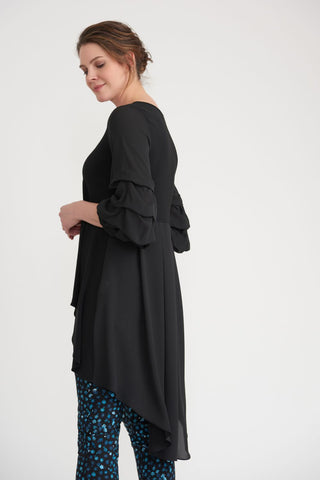 Joseph Ribkoff Bunched Sleeve Hi/Low Tunic - Black