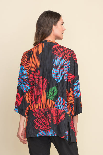 Joseph Ribkoff Floral Burnout Coverup - Orange/Multicolor