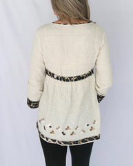 Sharon Young Leopard Trim Hi/Low Peasant Tunic - Beige