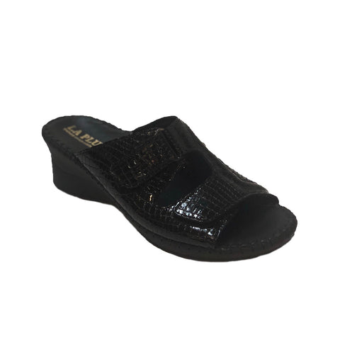 LaPlume Sheila Two-Strap Wedge Sandal - Black Croc Print