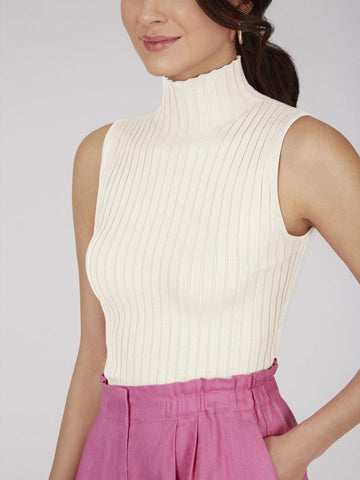 525 America Ribbed Mock Neck Sleeveless Top - Chalk