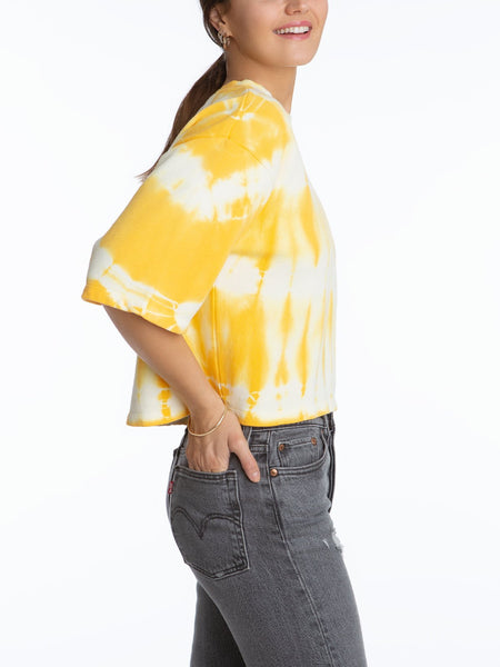 525 America Short Sleeve Tie Dye French Terry Top - Mango