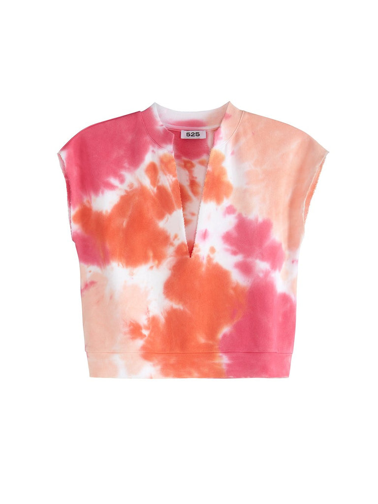 525 America Tie Dye Split Neck Crop Top - Electric Coral