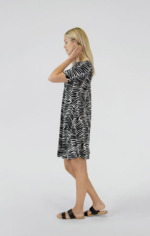 Sympli Trapeze Dress Short Sleeve - Shifted Stripe