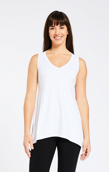 Sympli Sleeveless Wide V-Neck Go To T - White