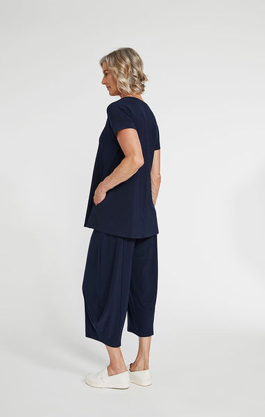 Sympli Tie Neck Short Sleeve Top - Navy