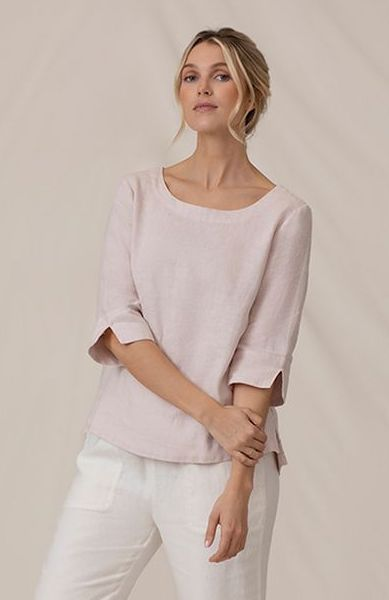Sympli Wide Sleeve Linen Top - Blush