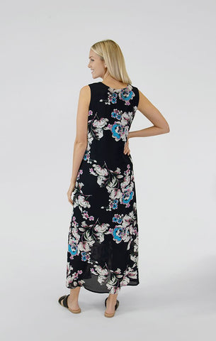 Sympli Whisper Sleeveless Double Layer Reversible Dress - Navy/Floral