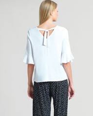 Clara Sunwoo Tie Back Tulip Sleeve Top - White
