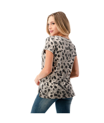 Ariella V-Neck Pocket Tee - Animal Print