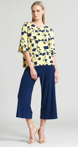 Clara Sunwoo Floral Print Back Tie Tulip Sleeve Top - Yellow/Navy