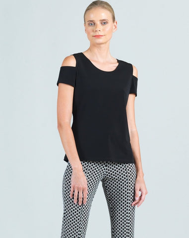 Clara Sunwoo Short Sleeve Cold Shoulder Top - Black