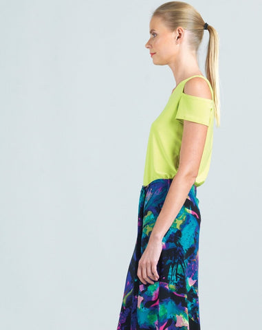 Clara Sunwoo Short Sleeve Cold Shoulder Top - Lime