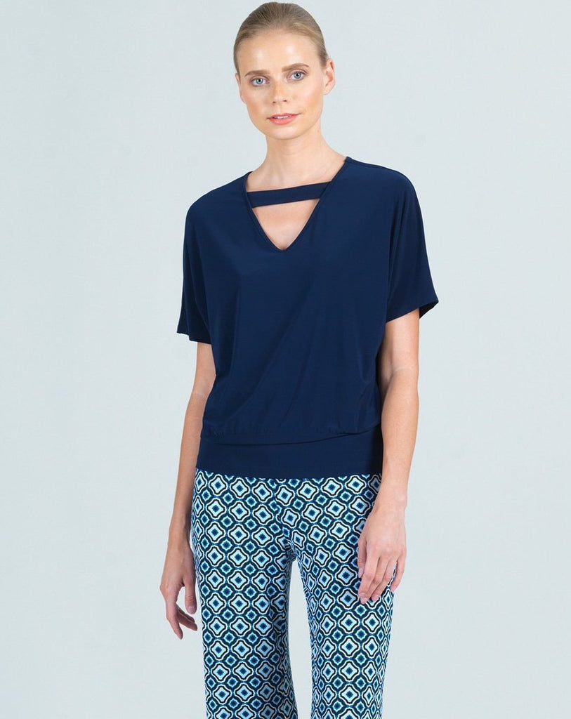 Clara Sunwoo Reversible Round/V-Neck Top - Navy