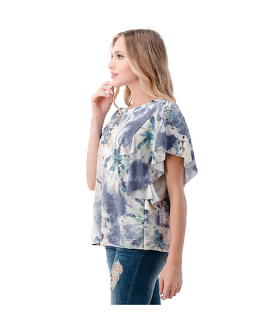 Ariella Dolman Flutter Short Sleeve Top - Blue