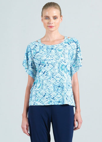 Clara Sunwoo Tie Dye Flutter Sleeve Top - Blue/Multicolor