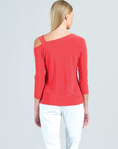 Clara Sunwoo Angle Drop Shoulder Ribbon Top - Coral