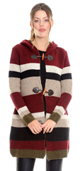 TodaBela Hooded Toggle Button Asymmetric Cardigan - Multicolor