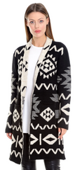 TodaBela Tribal Print Cardigan - Black/Eggshell