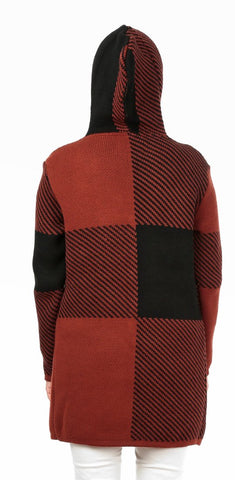TodaBela Color Block Hooded Cardigan - Cinnamon/Black