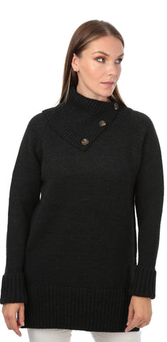 TodaBela Envelope Collar Oversized Sweater - Black