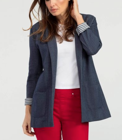Tribal Knit Boyfriend Blazer - Indigo