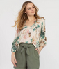 Image of Tribal Floral Balloon Sleeve Blouse - Coral/Multi